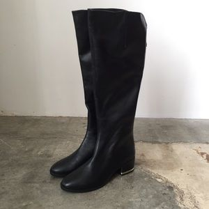 NWT Zara black & gold leather knee-high boots